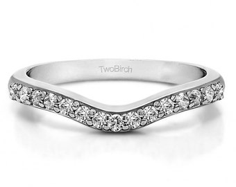 Sterling Silver Delicate Curved Wedding Ring with Forever Brilliant Moissanite (.25 ct twt) - Anniversary Wedding Band - Contour Band