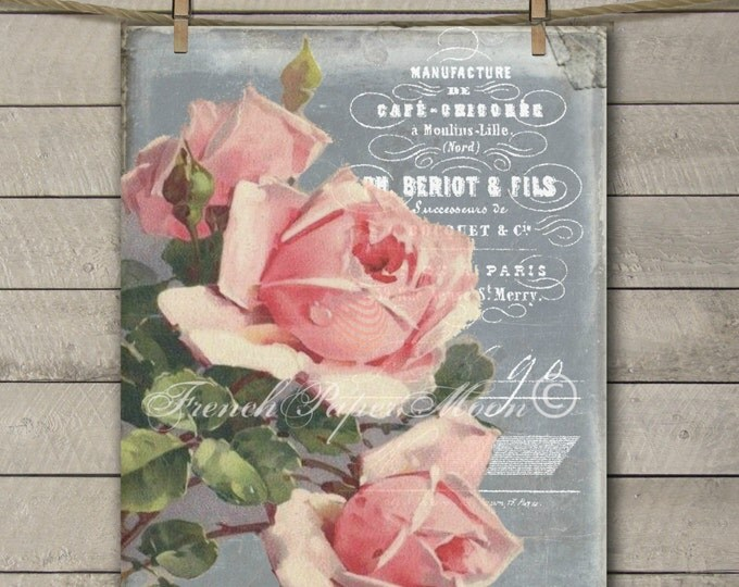Digital Vintage Print, Shabby Pink Roses, French Digital Image, French Rose Graphic Transfer Download