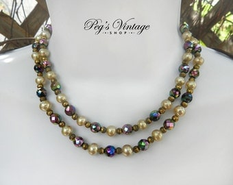 Vintage Double Strand Necklace, Pearl And Carnival AB Crystal Necklace
