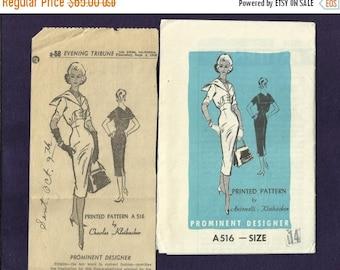 ON SALE Vintage 1958 Prominent Designer Pattern A516 Antonelli - Kleinbacker Figure Glorifying  Sailor Collar Dress Size 14 Uncut