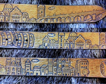 Hand tooled leather belt - Custom made hand carved belt with symbols of Prague - gift for ages