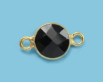 1 ea. Tiny 6mm Black Onyx and Vermeil Bezel Connecor Link Birthstone