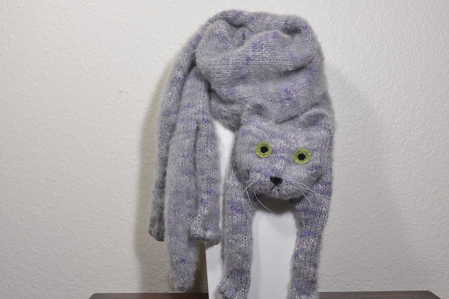 Gray Cat Scarf Knitting Animal scarf-Cat Lover Mohair Cat
