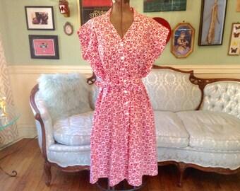 1940s Vintage Dress Red White Retro Cotton Print