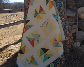 Handmade Quilt - multi-colored quilt- throw size quilt -- free shipping