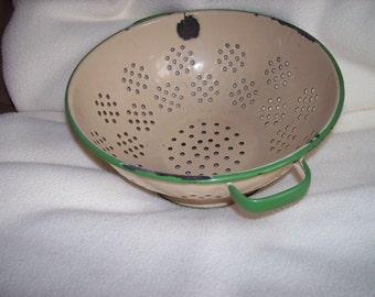 Vintage Enamelware Colander from the 1930's