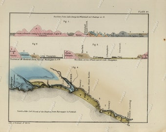 1843 Hand colored Geological map of lake George by whitehall  from Geology of New-York by William W. Mather art decor Original print