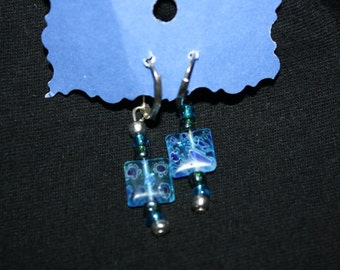 Fused Glass Square Bead Earrings-Blue with Blue and White designs