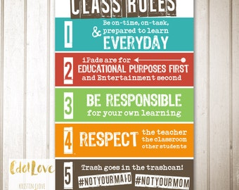 Class Rules - 24x36 Poster INSTANT DOWNLOAD