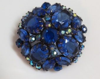 Large Blue Ab Rhinestone Domed Brooch