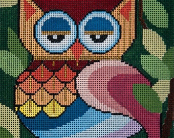 NEEDLEPOINT Hand Painted JP Needlepoint Owl What R U Looking At 15x15 13M -Free US Shipping!!!