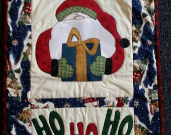 Ho Ho Ho Christmas Santa Wallhanging Handmade Christmas Quilt Home Decor
