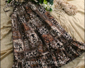 Girls Hawaiian Dress - Brown, Black, and Cream Tapa Print Fabric- Hawaiian Dress - Infants, Toddlers, Girls, Siblings
