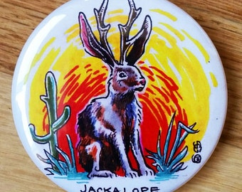 Jackalope Cryptid Commemorative Illustration Button