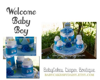 Diaper Cake Centerpiece, Baby Boy Diaper Cake, It's a Boy Baby Shower Gift, Baby Boy Diaper Cake Gift