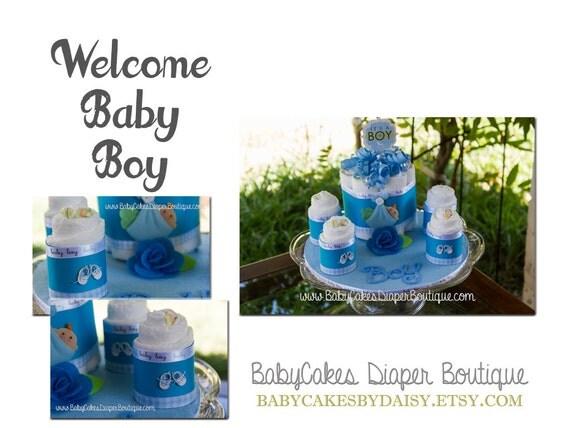 Diaper Cake Centerpiece, Baby Boy Diaper Cake, It's a Boy Baby Shower Gift, Baby Boy Diaper Cake Gift