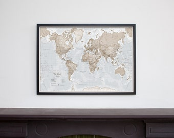Framed 'The World is Art' Wall Map - Neutral