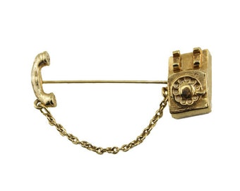 Vintage Gold Telephone Brooch, Avon Phone Brooch, Telephone Scatter Brooch
