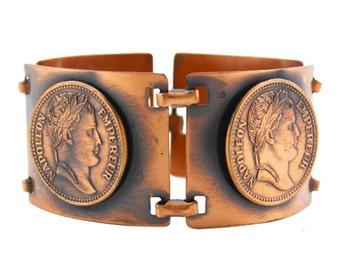 Vintage  Copper Bracelet, Copper Coin Bracelet, Copper Link Bracelet, Wide Copper Bracelet