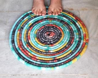 Multicolour crochet rug