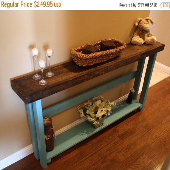 Spring sale beautiful dark walnut stained blue by for 5 foot console table