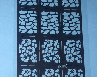 Nail vinyl decals   Hibiscus and stone pattern   FREE SHIPPING