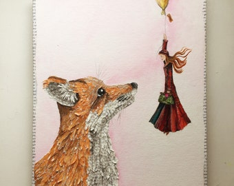 Mixed media collage Fox and her friend