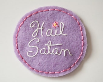 """Embroidered Kawaii Hail Satan Patch - Purple and Pink Satanist Round Pin - 3.5"""" Wide"""
