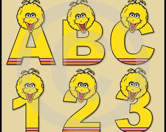 Big Bird (Sesame Street) Alphabet Letters & Numbers Clip Art Graphics