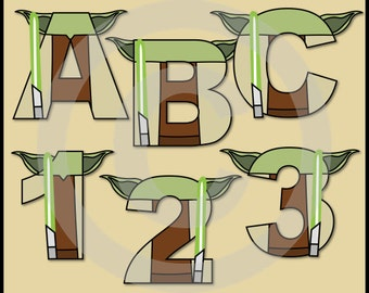 Yoda (Star Wars) Alphabet Letters & Numbers Clip Art Graphics
