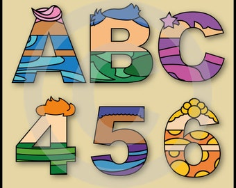 Bubble Guppies Alphabet Letters & Numbers Clip Art Graphics