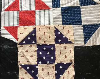 3 Antique Quilt Blocks- hand pieced Shoe Fly // early fabrics, Victorian, 1800s, unused