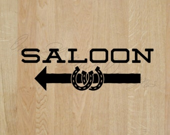 """Saloon Decal - Left or right Arrow - Wedding Day Decal """"Saloon"""" Decal -Vinyl Decal Wedding Reception"""