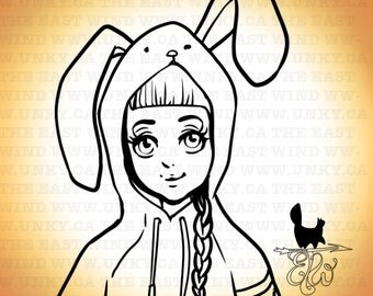 Digital stamp- 'Bunnyhug' - 300 dpi 2 JPEG/PNG files - MAC0246