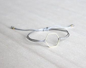 brass hexagon bracelet, friendship bracelet honeycomb, best friend gift, minimal bracelet, bridesmaid gift