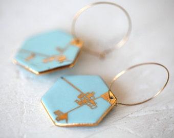 Dyle, blue porcelain earrings