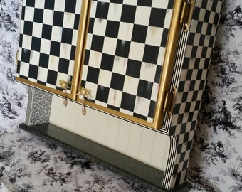 Sale Whimsical Black and White Check French Country Wall Cabinet
