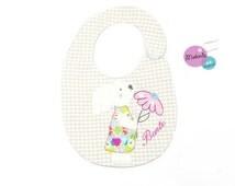 bib with name, baby bib personalized, personalised bib, embroidery bib, baby girl personalized, rabbit bib, birth gift bib, newborn girl bib