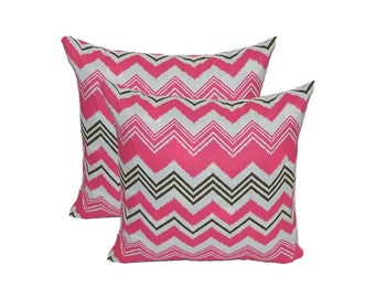 Set of 2 ~ Indoor / Outdoor Pink, Brown, White Chevron / Zig Zag Decorative Square Throw Pillows ~ Choose Size