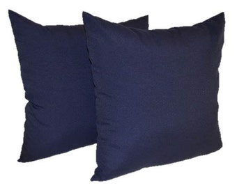 """Set of 2 Pillow Covers ~ Navy / Dark Blue Solid 17"""" Decorative Pillow Covers ~ Indoor / Outdoor Fabric"""
