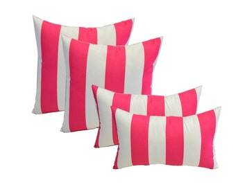 "SET OF 4 - Indoor / Outdoor 17"" Square & Rectangle / Lumbar Pillows - Preppy Hot Pink and White Stripe"