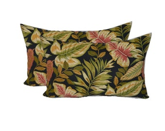 Set of 2 - Indoor / Outdoor - Twilight Black Green Burgundy Tropical Palm Leaf ~ Rectangle/Lumbar Pillows - Choose Size