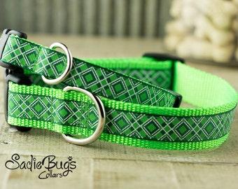 St. Patricks Day dog collar - Argyle