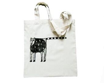 Lemur, maki, tote bag, screen printed by hand