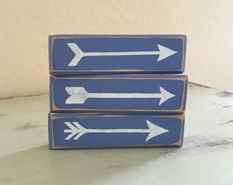 Rustic Wood Arrows Your Choice of Color Decor Wood Sign Home Decor Gifts Under 10 Gift Idea Room Decor Gift Idea Wooden Blocks Decorations