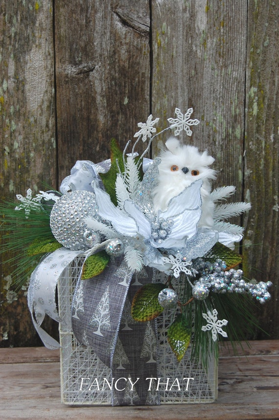 Winter owl arrangement christmas centerpiece