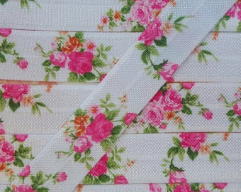 5/8 Pink Floral Bouquet Fold Over Elastic
