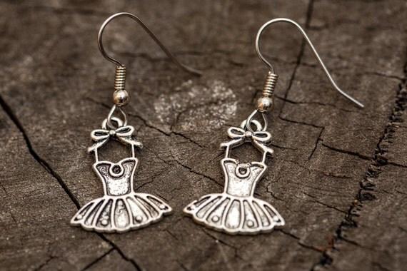 FREE SHIPPING - Surgical Steel Dangle Earrings - Ballet Dress Photographer Charm Earrings