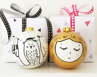 Ceramic Christmas Bauble Gold Bauble Baby Bauble Goldilocks and the Three Bears