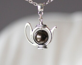 Dark Brown Pearl Teapot Pendant, Teapot Pendant, Brow Teapot Pendant, Teapot Necklace,Teapot Jewelry, Cute Jewelry, Gift For Tea Lovers